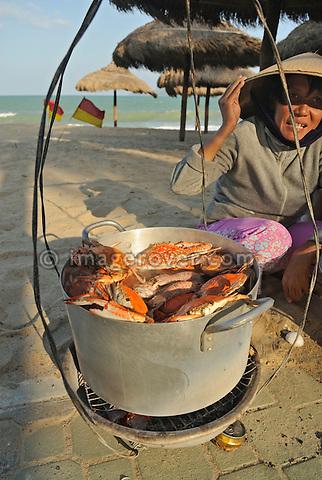 Asia, Vietnam, Nha Trang. Selling fresh sea food at Nha Trang's beach.