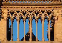 Small arcades, between the two bell towers of the west façade, Notre Dame de Paris, 1163 ? 1345, initiated by the bishop Maurice de Sully, Ile de la Cité, Paris, France. Picture by Manuel Cohen