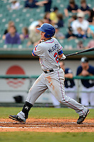 Round Rock Express first baseman Chris McGuiness #21 during a game against the New Orleans Zephyrs on April 15, 2013 at Zephyr Field in New Orleans, Louisiana.  New Orleans defeated Round Rock 3-2.  (Mike Janes/Four Seam Images)