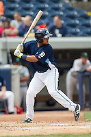 West Michigan Whitecaps catcher Arvicent Perez (13) at bat against the Dayton Dragons on April 24, 2016 at Fifth Third Ballpark in Comstock, Michigan. Dayton defeated West Michigan 4-3. (Andrew Woolley/Four Seam Images)