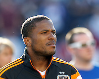Houston Dynamo defender Jermaine Taylor (4). In a Major League Soccer (MLS) match, the New England Revolution (blue/white) defeated Houston Dynamo (orange), 2-0, at Gillette Stadium on April 12, 2014.