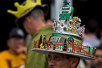 ELMONT, NY - JUNE 09: A man wear a hat designed to look like Belmont Park during Belmont Stakes Day at Belmont Park on June 9, 2018 in Elmont, New York. (Photo by Scott Serio/Eclipse Sportswire/Getty Images)