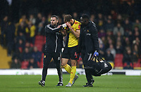 Watford's Craig Dawson walks off with a cut head<br /> <br /> Photographer Rob Newell/CameraSport<br /> <br /> The Premier League - Watford v Burnley - Saturday 23rd November 2019 - Vicarage Road - Watford <br /> <br /> World Copyright © 2019 CameraSport. All rights reserved. 43 Linden Ave. Countesthorpe. Leicester. England. LE8 5PG - Tel: +44 (0) 116 277 4147 - admin@camerasport.com - www.camerasport.com