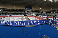 General view of the inside of Stade de France with a St. George Cross where the French supporters will sit infant of a sign that reads 'United With the Cities of Manchester and London ahead of the International Friendly match between France and England at Stade de France, Paris, France on 13 June 2017. Photo by David Horn/PRiME Media Images.