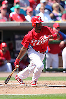 Philadelphia Phillies Jimmy Rollins #11 during a spring training game against the Baltimore Orioles at Bright House Field in Clearwater, Florida;  March 8, 2011.  Photo By Mike Janes/Four Seam Images