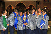 Winning European Team with the Ryder Cup in front of the club house at the end of Sunday's singles matches at the Ryder Cup 2012, Medinah Country Club,Medinah, Illinois,USA 30/09/2012.Picture: Fran Caffrey/www.golffile.ie.