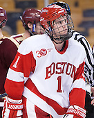 Mike Moran (BU - 11) - The Boston College Eagles defeated the Boston University Terriers 3-1 (EN) in their opening round game of the 2014 Beanpot on Monday, February 3, 2014, at TD Garden in Boston, Massachusetts.