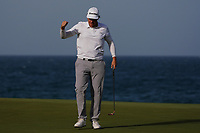 Sami Valimaki (FIN) makes a birdie putt on the 18th to bring it to a Play Off during Round 4 of the Oman Open 2020 at the Al Mouj Golf Club, Muscat, Oman . 01/03/2020<br /> Picture: Golffile | Thos Caffrey<br /> <br /> <br /> All photo usage must carry mandatory copyright credit (© Golffile | Thos Caffrey)