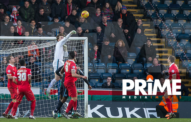 Goalkeeper Alex Lynch of Wycombe Wanderers punches clear during the Sky Bet League 2 match between Wycombe Wanderers and Leyton Orient at Adams Park, High Wycombe, England on 23 January 2016. Photo by Andy Rowland / PRiME Media Images.