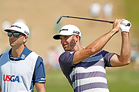 Dustin Johnson (USA) hits his second shot on the first hole during the third round of the 118th U.S. Open Championship at Shinnecock Hills Golf Club in Southampton, NY, USA. 16th June 2018.<br /> Picture: Golffile | Brian Spurlock<br /> <br /> <br /> All photo usage must carry mandatory copyright credit (&copy; Golffile | Brian Spurlock)