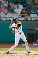 Down East Wood Ducks outfielder Jairo Beras (16) at bat during a game against the Salem Red Sox at Grainger Stadium on April 16, 2017 in Kinston, North Carolina. Salem defeated Down East 9-2. (Robert Gurganus/Four Seam Images)