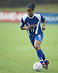 Danielle Slaton in the rain at SAS Stadium in Cary, North Carolina on 5/24/03 during a game between the Carolina Courage and San Diego Spirit. San Diego won the game 2-1.