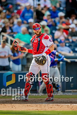 7 March 2019: Washington Nationals catcher Spencer Kieboom in action during a Spring Training Game against the New York Mets at the Ballpark of the Palm Beaches in West Palm Beach, Florida. The Nationals defeated the visiting Mets 6-4 in Grapefruit League, pre-season play. Mandatory Credit: Ed Wolfstein Photo *** RAW (NEF) Image File Available ***