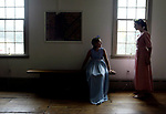 """CAMP""  <br /> On Fri July 11,2003-<br /> <br /> The Merchants & Drovers Tavern museum in Rahway held a summer history theatre camp were campers have the chance to perform various skits with a historical reference. Here jessica Argrisani (left) age 9 of Rahway & Kaitlin Supple, age 14 of Rahway practice their lines before heading to the stage."