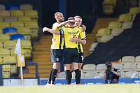 Jack Muldoon, Harrogate Town,  celebrates with Josh Falkingham, Harrogate Town,  following his second goal and his teams fourth during Southend United vs Harrogate Town, Sky Bet EFL League 2 Football at Roots Hall on 12th September 2020