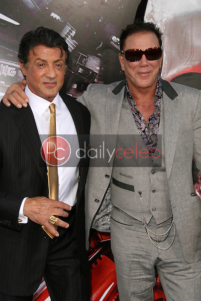 """Sylvester Stallone and Mickey Rourke<br /> at the """"The Expendables"""" Film Screening, Chinese Theater, Hollywood, CA. 08--03-10<br /> David Edwards/Dailyceleb.com 818-249-4998"""