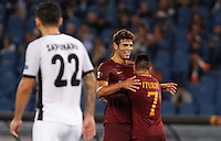 Calcio, Europa League: Roma vs Astra Giurgiu. Roma, stadio Olimpico, 29 settembre 2016.<br /> Roma&rsquo;s Federico Fazio, left, celebrates with teammate Juan Iturbe after scoring during the Europa League Group E soccer match between Roma and Astra Giurgiu at Rome's Olympic stadium, 29 September 2016. Roma won 4-0.<br /> UPDATE IMAGES PRESS/Riccardo De Luca