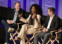 "HOLLYWOOD, CA - MARCH 17: Tim Minear, Angela Bassett and Peter Krause at PaleyFest 2019 - Fox's ""9-1-1"" panel at the Dolby Theatre on March 17, 2019 in Hollywood, California. (Photo by Scott Kirkland/Fox/PictureGroup)"