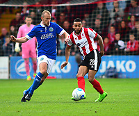 Lincoln City's Nathan Arnold vies for possession with Macclesfield Town's Luke Summerfield<br /> <br /> Photographer Andrew Vaughan/CameraSport<br /> <br /> Vanarama National League - Lincoln City v Macclesfield Town - Saturday 22nd April 2017 - Sincil Bank - Lincoln<br /> <br /> World Copyright &copy; 2017 CameraSport. All rights reserved. 43 Linden Ave. Countesthorpe. Leicester. England. LE8 5PG - Tel: +44 (0) 116 277 4147 - admin@camerasport.com - www.camerasport.com