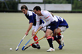 Hockey - Subway Eat Fresh Mens National League Div 1 - Western Wildcats V Menzieshill at Auchenhowie, Milngavie - Wildcats capt David Mansouri guides the ball past Menzieshill defenders Jamie Carnegie and Rennie Milne in his sides 6-1 victory - Picture by Donald MacLeod 05.09.09