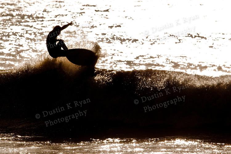 Surfing Waves at Folly Beach South Carolina Washout