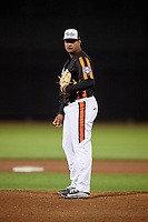 Aberdeen IronBirds relief pitcher Juan Echevarria (29) looks in for the sign during a game against the Staten Island Yankees on August 23, 2018 at Leidos Field at Ripken Stadium in Aberdeen, Maryland.  Aberdeen defeated Staten Island 6-2.  (Mike Janes/Four Seam Images)