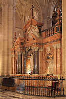 Altar del Trascoro, designed 1772-76 by Ventura Rodriguez and built by Eusebio Valdes with sculptures by Juan de Salazar of the Immaculate Conception, San Domingo de Guzman and San Juan Nepomuceno, in the Cathedral of the Incarnation of Almeria, or Catedral de la Encarnacion de Almeria, built 1524-62 in late Gothic and Renaissance styles after the original cathedral was destroyed in an earthquake, Almeria, Andalusia, Southern Spain. Above the main statues are a medallion of God the Father, angels and allegories of Faith and Hope. Picture by Manuel Cohen