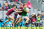 Dara Moynihan Kerry in action against Mike Breen and John Maher Galway in the All Ireland Minor Football Final in Croke Park on Sunday.