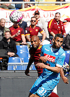 Calcio, Serie A: Roma vs Napoli. Roma, stadio Olimpico, 25 aprile 2016.<br /> Roma's Maicon, left, is challenged by Napoli's Faouzi Ghoulam during the Italian Serie A football match between Roma and Napoli at Rome's Olympic stadium, 25 April 2016.<br /> UPDATE IMAGES PRESS/Riccardo De Luca