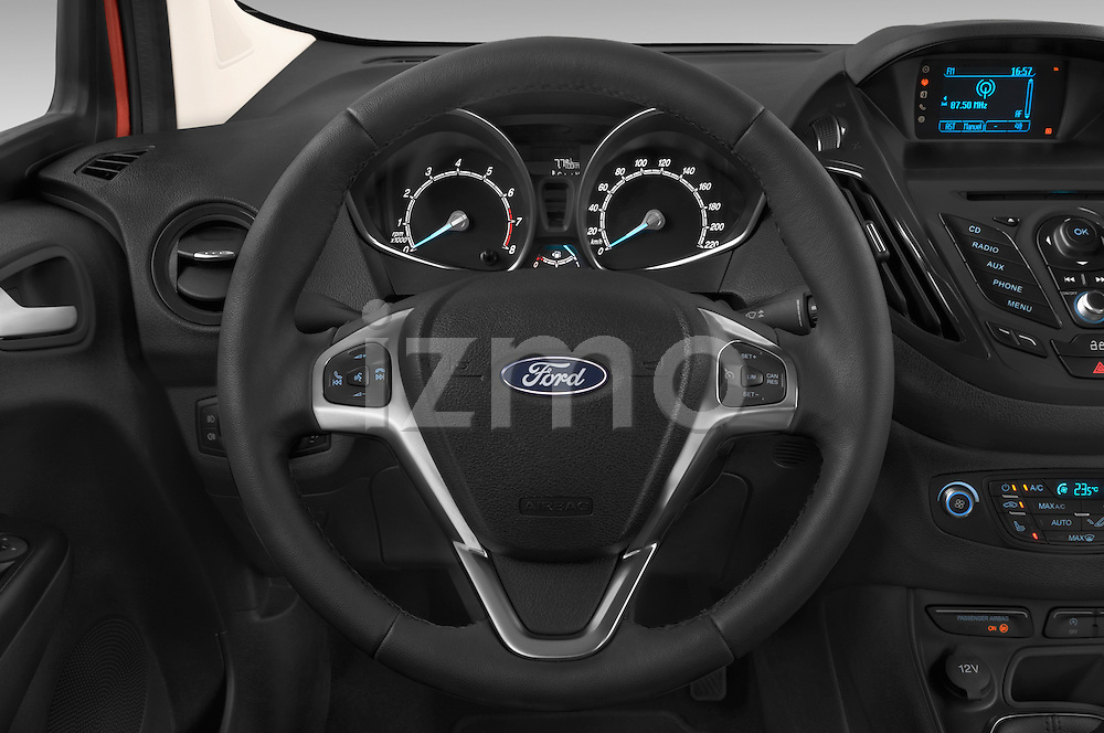 Car pictures of steering wheel view of a 2015 Ford Tourneo Courier Titanium 5 Door Minimpv Steering Wheel