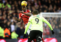 Nottingham Forest's Tendayi Darikwa and Sheffield United's Leon Clarke<br /> <br /> Photographer Rachel Holborn/CameraSport<br /> <br /> The EFL Sky Bet Championship - Nottingham Forest v Sheffield United - Saturday 3rd November 2018 - The City Ground - Nottingham<br /> <br /> World Copyright &copy; 2018 CameraSport. All rights reserved. 43 Linden Ave. Countesthorpe. Leicester. England. LE8 5PG - Tel: +44 (0) 116 277 4147 - admin@camerasport.com - www.camerasport.com