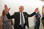 United States Senator Chuck Grassley (Republican of Iowa), Chairman, US Senate Committee on the Judiciary, responds to a reporter's question in the hallway outside the hearing room prior to hearing the testimony of Dr. Christine Blasey Ford on the nomination of Judge Brett Kavanaugh to be Associate Justice of the US Supreme Court to replace the retiring Justice Anthony Kennedy on Capitol Hill in Washington, DC on Thursday, September 27, 2018.<br /> Credit: Ron Sachs / CNP<br /> (RESTRICTION: NO New York or New Jersey Newspapers or newspapers within a 75 mile radius of New York City)