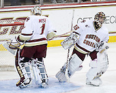 John Muse (BC - 1), Parker Milner (BC - 35) - The Boston College Eagles defeated the visiting Boston University Terriers 5-2 on Saturday, December 4, 2010, at Conte Forum in Chestnut Hill, Massachusetts.