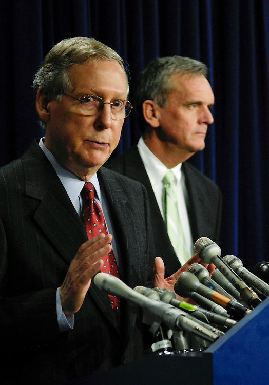 "WASHINGTON, DC - March 12: Senate Minority Leader Mitch McConnell, R-Ky., and Senate Budget ranking member Judd Gregg, R-N.H., during a news conference as the House started consideration of its annual budget resolution Wednesday, and as Senate debate on the 2009 fiscal blueprint dragged. Republicans warned that votes could last well into Friday. ""Looks to me like this is going to be a very long, very, very long, maybe historically long vote-a-rama with the way things are going,"" said Sen. Judd Gregg of New Hampshire, the ranking Republican on the Senate Budget Committee, referring to the series of votes that concludes the process each year. (Photo by Scott J. Ferrell/Congressional Quarterly)"