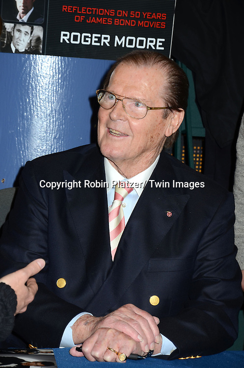 "Roger Moore at his book signing of his new book "" Bond on Bond"" on November 9, 2012 at Barnes and Noble on 18th and 5th Avenue in New York City."