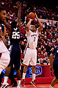 11 January 2012: Toney McCray #0 of the Nebraska Cornhuskers makes a three pointer during the second half against the Penn State Nittany Lions at the Devaney Sports Center in Lincoln, Nebraska. Nebraska defeated Penn State 70 to 58.