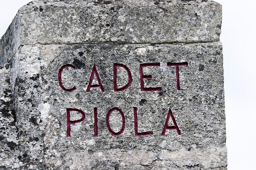 gate post chateau cadet piola saint emilion bordeaux france