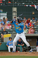Myrtle Beach Pelicans outfielder Kevonte Mitchell (25) at bat during a game against the Potomac Nationals at Ticketreturn.com Field at Pelicans Ballpark on July 1, 2018 in Myrtle Beach, South Carolina. Myrtle Beach defeated Potomac 6-1. (Robert Gurganus/Four Seam Images)