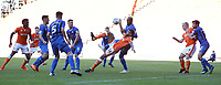 Blackpool's Curtis Tilt is tightly marked by Rochdale's Calvin Andrew preventing a goal scoring chance<br /> <br /> Photographer Stephen White/CameraSport<br /> <br /> The EFL Sky Bet League One - Blackpool v Rochdale - Saturday 6th October 2018 - Bloomfield Road - Blackpool<br /> <br /> World Copyright &copy; 2018 CameraSport. All rights reserved. 43 Linden Ave. Countesthorpe. Leicester. England. LE8 5PG - Tel: +44 (0) 116 277 4147 - admin@camerasport.com - www.camerasport.com