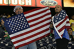 06 February 2008: U.S. fans. The United States Men's National Team played the Mexico Men's National Team to a 2-2 tie at the Reliant Stadium in Houston, TX in a men's international friendly soccer game.