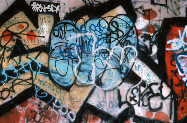This photo is available exclusively from Getty Images<br /> <br /> Please search for image # 200418070-001 at www.gettyimages.com <br /> <br /> Detail of Graffiti on a Wall, East Village, New York City< New York State, USA