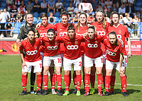 20190422 - Denderleeuw , BELGIUM : Standard's players with Lisa Lichtfus (21) , Gwyneth Vanaenrode (3) , Lea Cordier (5) , Maurane Marinucci (7) , Sanne Schoenmakers (8) , Noemie Gelders (10) , Lola Wajnblum (11) , Ellen Charlier (17) , Charlotte Cranshoff (18) , Lisa Petry (21) and Justine Blave (22) pictured posing for the teampicture during the final of Belgian cup 2019 , a soccer women game between AA Gent Ladies and Standard Femina de Liege  , in the  Van Roystadion in Denderleeuw , Monday 22 th April 2019 . PHOTO SPORTPIX.BE | DAVID CATRY