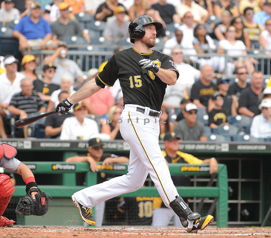 Pittsburgh Pirates Ike Davis (15) during a game against the St. Louis Cardinals on August 27, 2014 at PNC Park in Pittsburgh PA. The Pirates beat the Cardinals 3-1.