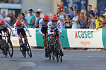 UAE Team Emirates in action during Stage 1 of La Vuelta 2019, a team time trial running 13.4km from Salinas de Torrevieja to Torrevieja, Spain. 24th August 2019.<br /> Picture: Eoin Clarke | Cyclefile<br /> <br /> All photos usage must carry mandatory copyright credit (© Cyclefile | Eoin Clarke)