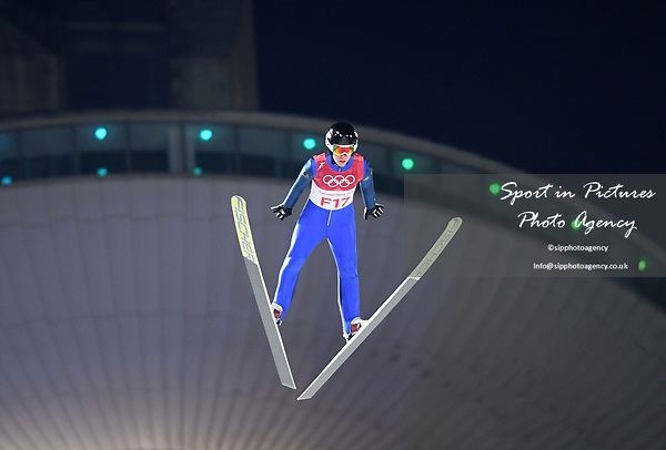 One of the test jumpers. Mens normal hill individual. Qualification. Ski jumping. Alpensia ski jump centre. Pyeongchang2018 winter Olympics. Alpensia. Pyeongchang. Republic of Korea. 08/02/2018. ~ MANDATORY CREDIT Garry Bowden/SIPPA - NO UNAUTHORISED USE - +44 7837 394578