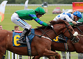 June 10th 2017, Chester Racecourse, Cheshire, England; Chester Races Horse racing Neil Farley rides Renton hard inside the final furlong of the first race