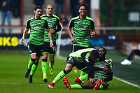 Plymouth Argyle's Moses Makasi celebrates scoring his side's first goal <br /> <br /> Photographer Richard Martin-Roberts/CameraSport<br /> <br /> The EFL Sky Bet League One - Fleetwood Town v Plymouth Argyle - Saturday 10th March 2018 - Highbury Stadium - Fleetwood<br /> <br /> World Copyright &not;&copy; 2018 CameraSport. All rights reserved. 43 Linden Ave. Countesthorpe. Leicester. England. LE8 5PG - Tel: +44 (0) 116 277 4147 - admin@camerasport.com - www.camerasport.com