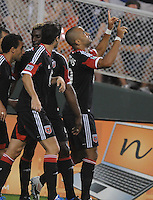 D.C. United forward Maicon Santos (29) celebrates his score in the 61th minute of the game. D.C. United defeated The New England Revolution 3-2 at RFK Stadium, Saturday May 26, 2012.