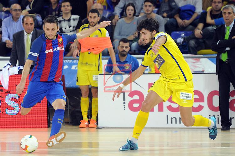 League LNFS 2016/2017 - Game 4.<br /> FC Barcelona Lassa vs Gran Canaria FS: 4-2.<br /> Dyego vs Pablo Salado.