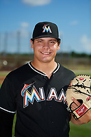 GCL Marlins pitcher Zack Leban (41) poses for a photo before a game against the GCL Cardinals on August 4, 2018 at Roger Dean Chevrolet Stadium in Jupiter, Florida.  GCL Marlins defeated GCL Cardinals 6-3.  (Mike Janes/Four Seam Images)